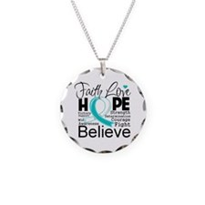 Faith Hope Cervical Cancer Necklace Circle Charm