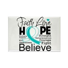 Faith Hope Cervical Cancer Rectangle Magnet