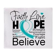 Faith Hope Cervical Cancer Throw Blanket