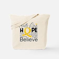 Faith Hope Childhood Cancer Tote Bag