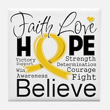 Faith Hope Childhood Cancer Tile Coaster