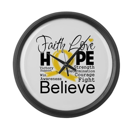 Faith Hope Childhood Cancer Large Wall Clock