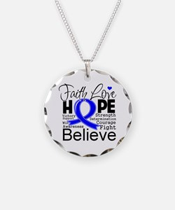 Faith Hope Colon Cancer Necklace Circle Charm