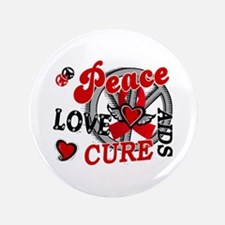 "Peace Love Cure AIDS 2 3.5"" Button"