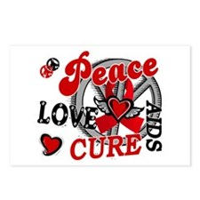 Peace Love Cure AIDS 2 Postcards (Package of 8)