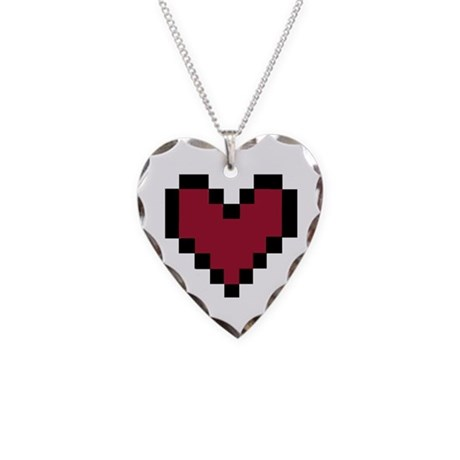 Pixel Heart Necklace Heart Charm