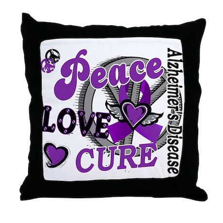 Peace Love Cure 2 Alzheimers Throw Pillow