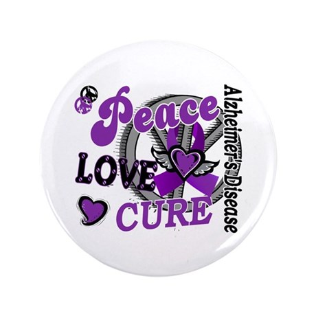 "Peace Love Cure 2 Alzheimers 3.5"" Button"