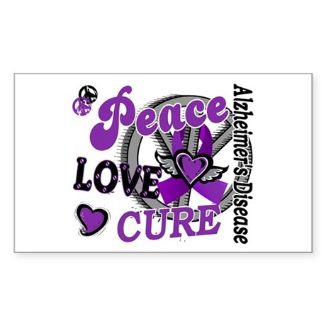 Peace Love Cure 2 Alzheimers Sticker (Rectangle)