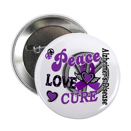 """Peace Love Cure 2 Alzheimers 2.25"""" Button (100 pac"""