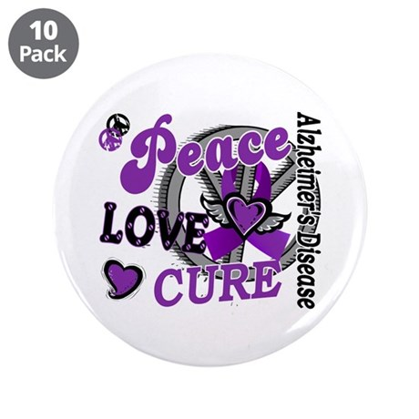 """Peace Love Cure 2 Alzheimers 3.5"""" Button (10 pack)"""