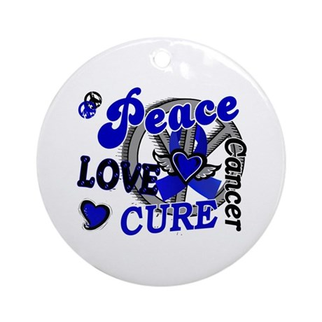 Peace Love Cure 2 Anal Cancer Ornament (Round)