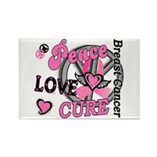 Peace Love Cure 2 Breast Cancer Rectangle Magnet