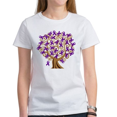 Purple Ribbon Awareness Tree Women's T-Shirt
