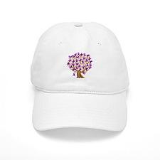Purple Ribbon Awareness Tree Baseball Cap