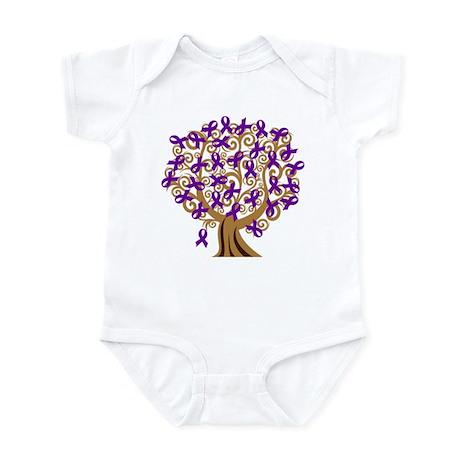 Purple Ribbon Awareness Tree Infant Bodysuit