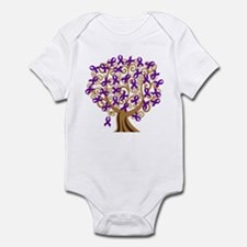 Purple Ribbon Awareness Tree Infant Bodysuit