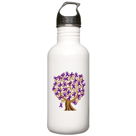 Purple Ribbon Awareness Tree Stainless Water Bottl