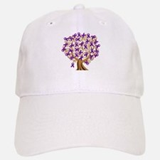 Purple Ribbon Awareness Tree Baseball Baseball Cap