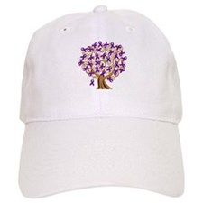 Purple Ribbon Awareness Tree Baseball Cap