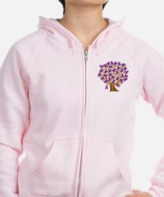Purple Ribbon Awareness Tree Zip Hoodie