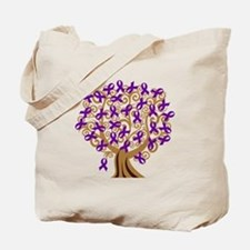 Purple Ribbon Awareness Tree Tote Bag