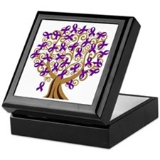 Purple Ribbon Awareness Tree Keepsake Box