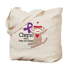 Purple Ribbon Chemo Sock Monkey Tote Bag