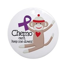 Purple Ribbon Chemo Sock Monkey Ornament (Round)