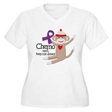 Purple Ribbon Chemo Sock Monkey T-Shirt