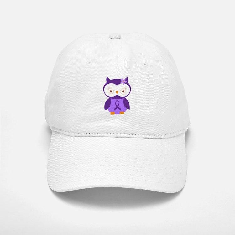 Purple Ribbon Awareness Owl Baseball Baseball Cap