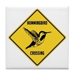 Hummingbird Crossing Sign Tile Coaster