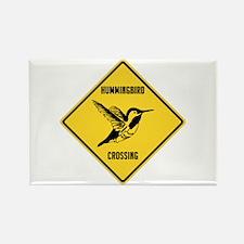 Hummingbird Crossing Sign Rectangle Magnet