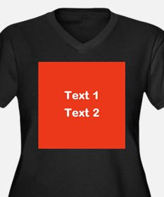 Red with Bold Custom Text. Women's Plus Size V-Nec