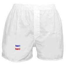 Blue and Red Custom Text. Boxer Shorts
