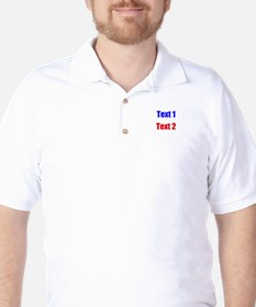 Blue and Red Custom Text. T-Shirt