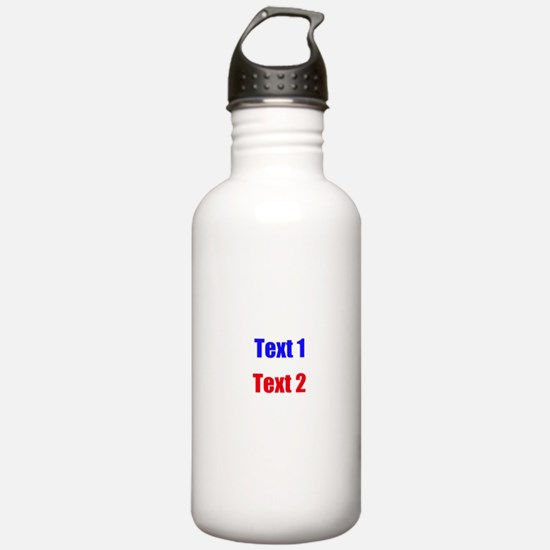 Blue and Red Custom Text. Water Bottle