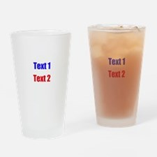 Blue and Red Custom Text. Drinking Glass