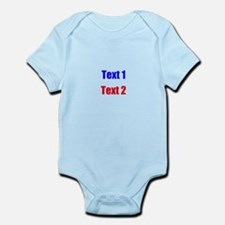 Blue and Red Custom Text. Infant Bodysuit