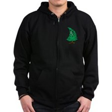 Cartoon Christmas Tree Zip Hoodie