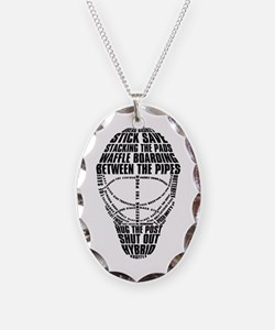 Hockey Goalie Mask Text Necklace Oval Charm