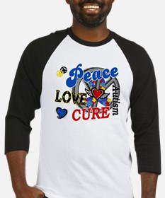 Peace Love Cure 2 Autism Shirts Gifts Baseball Jer
