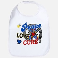Peace Love Cure 2 Autism Shirts Gifts Bib