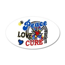 Peace Love Cure 2 Autism Shirts Gifts 22x14 Oval W