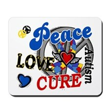 Peace Love Cure 2 Autism Shirts Gifts Mousepad