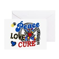 Peace Love Cure 2 Autism Shirts Gifts Greeting Car