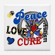 Peace Love Cure 2 Autism Shirts Gifts Tile Coaster