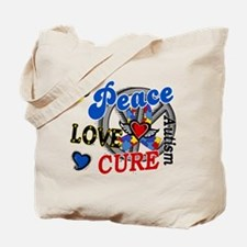 Peace Love Cure 2 Autism Shirts Gifts Tote Bag