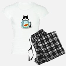 Tuxedo Cat with Fish Pajamas