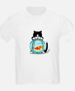 Tuxedo Cat with Fish T-Shirt